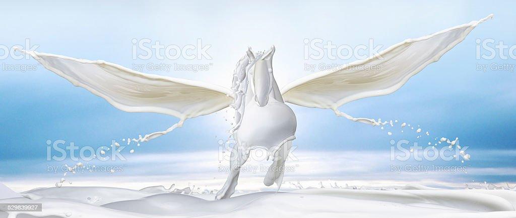White Pegasus made out of milk splashes stock photo