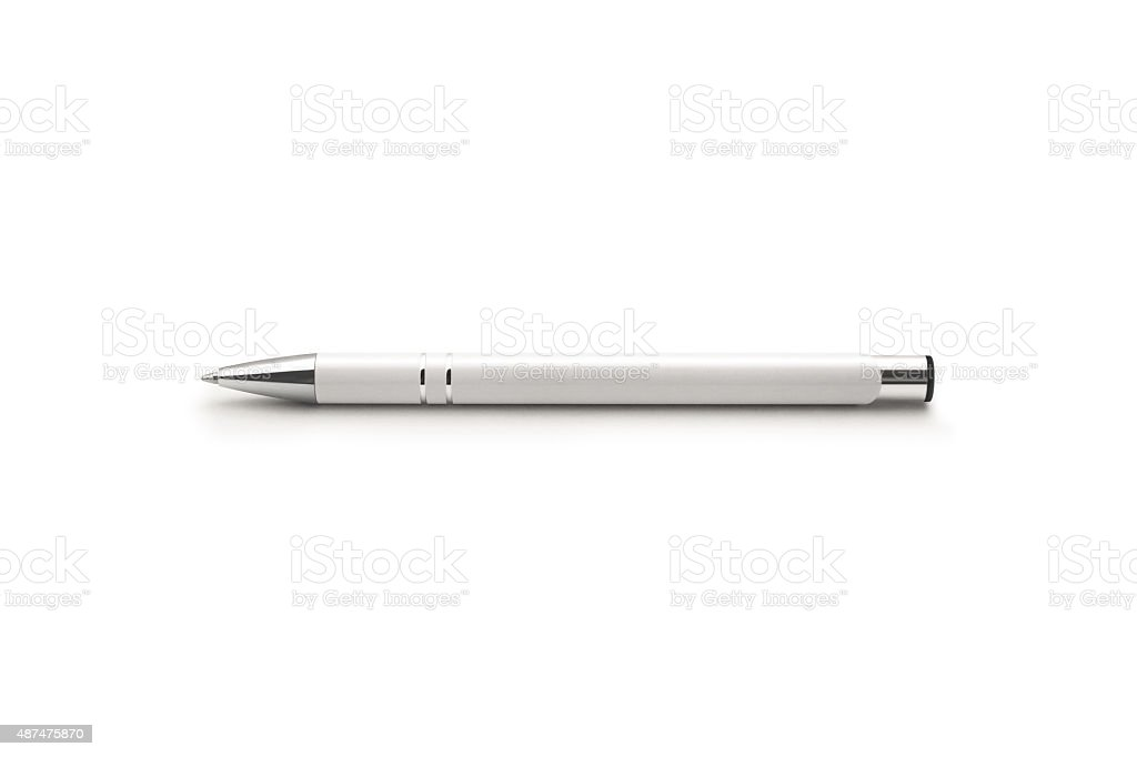 White pen isolated on a white background stock photo
