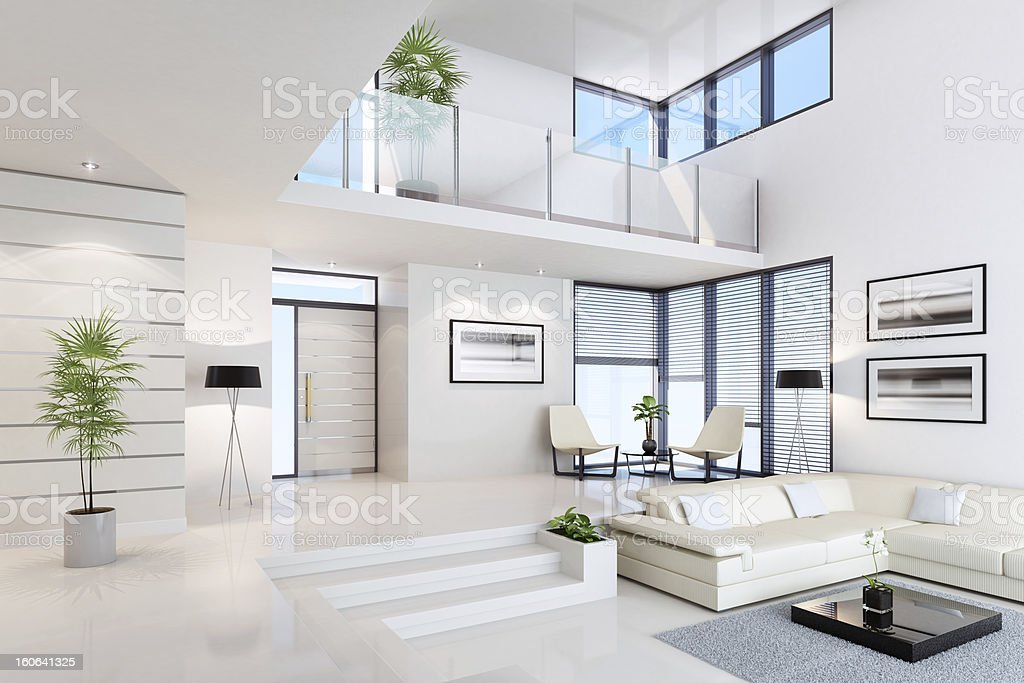White Penthouse Interior stock photo