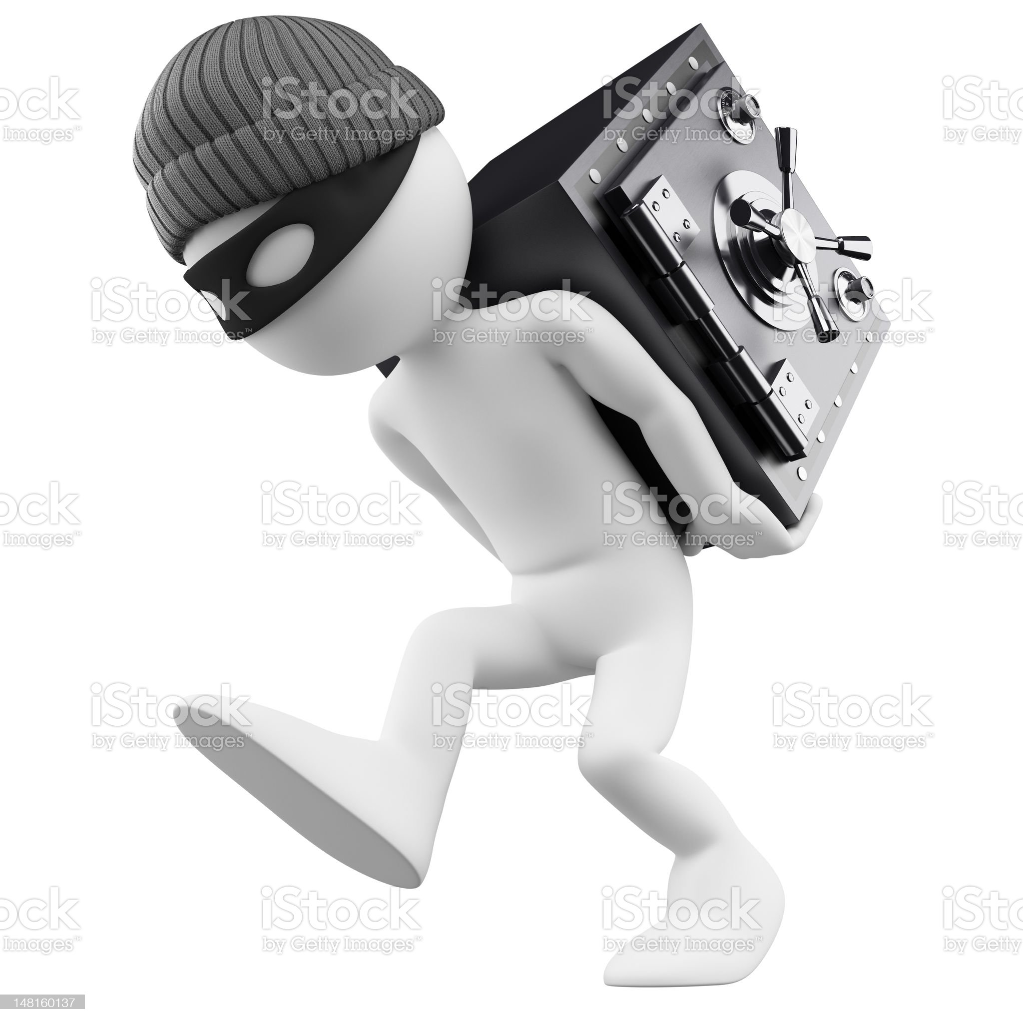 3D white people. Bank robber royalty-free stock photo