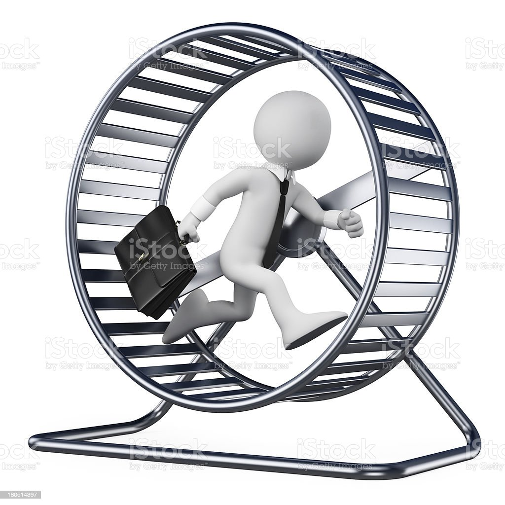 3D white people. Businessman in a hamster wheel stock photo