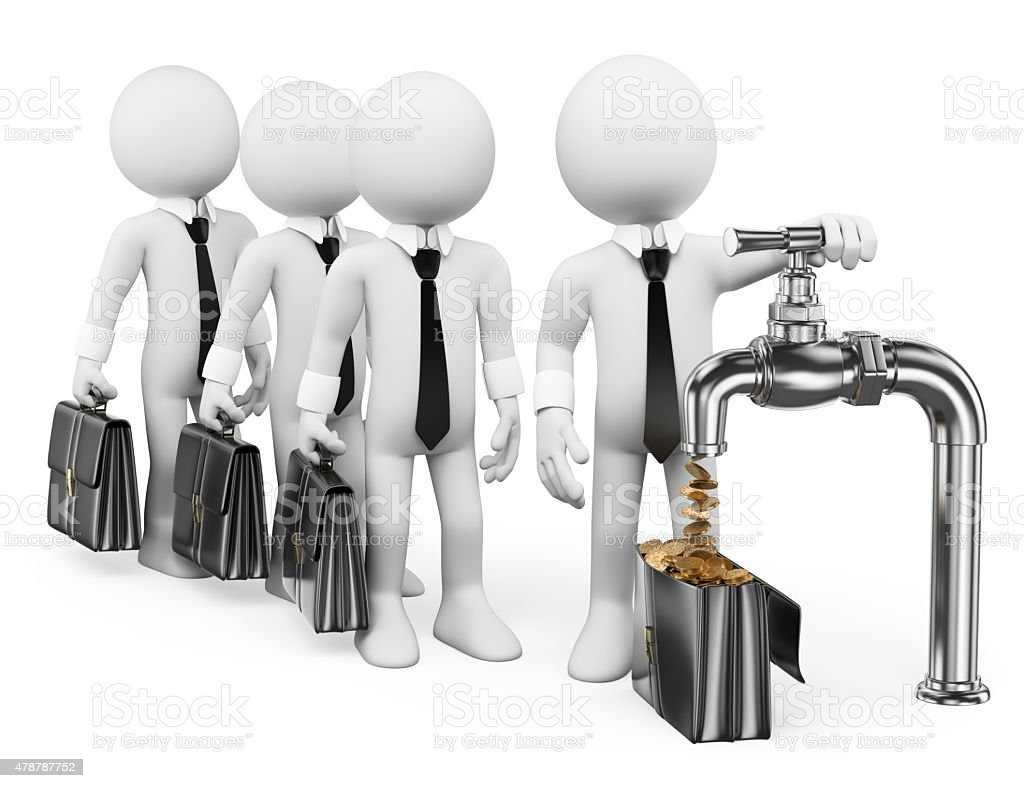 3D white people. Businessman turning on the money tap stock photo