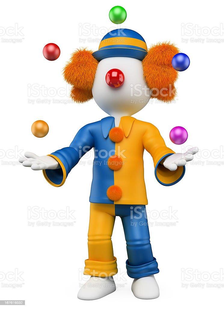 3D white people. Clown juggler royalty-free stock photo