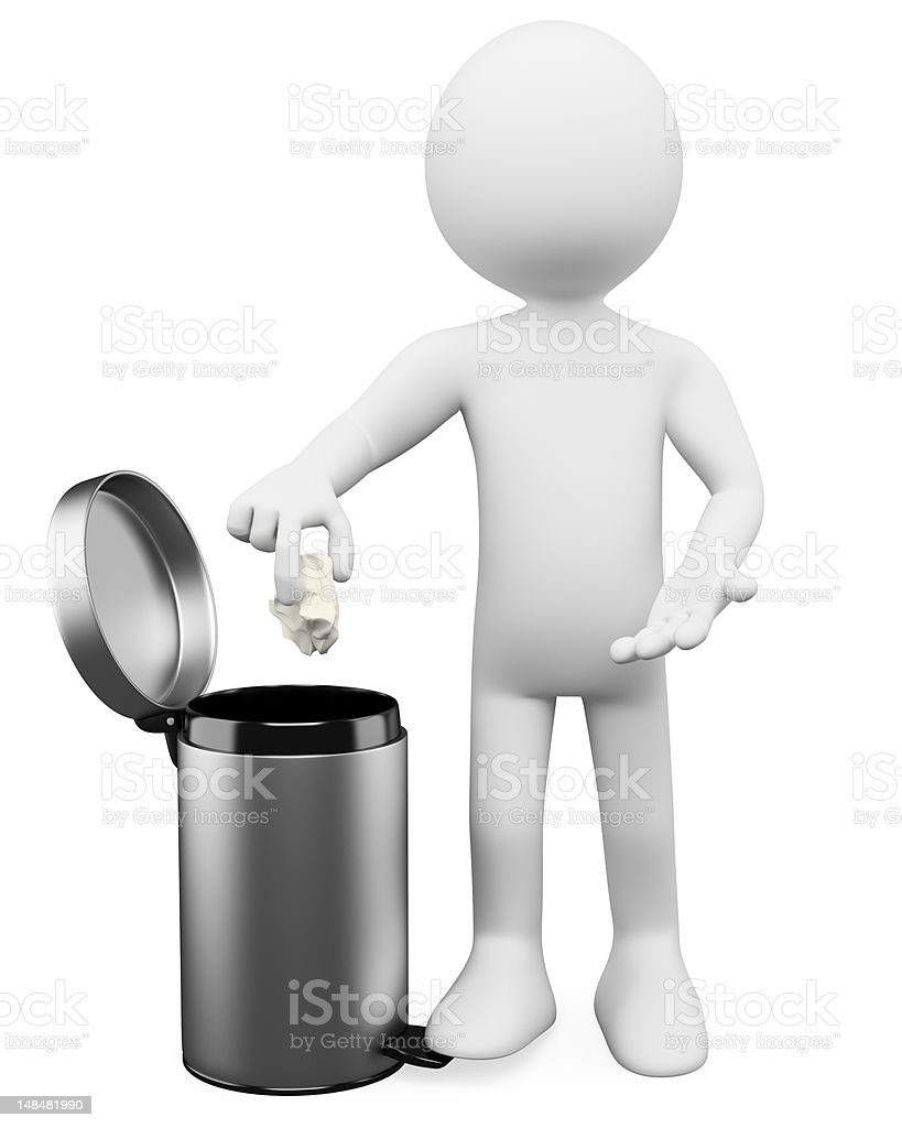 3D white people. Garbage basket royalty-free stock photo