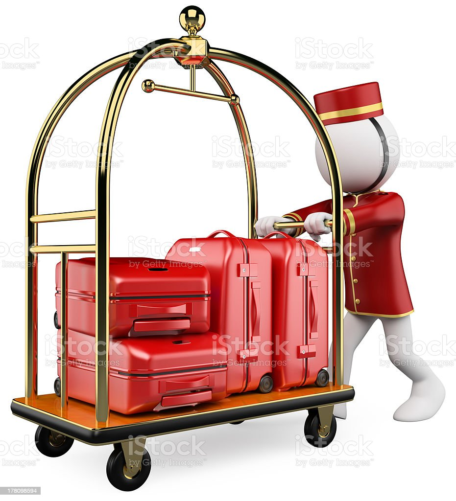 3D white people. Hotel luggage cart stock photo