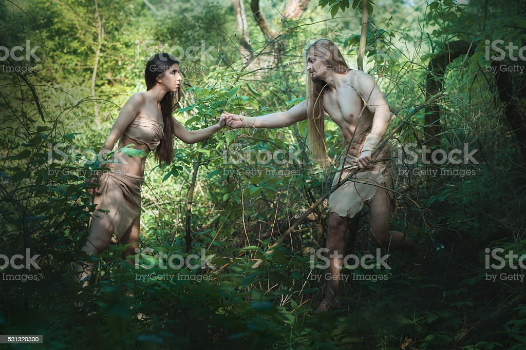 White people in the forest. stock photo