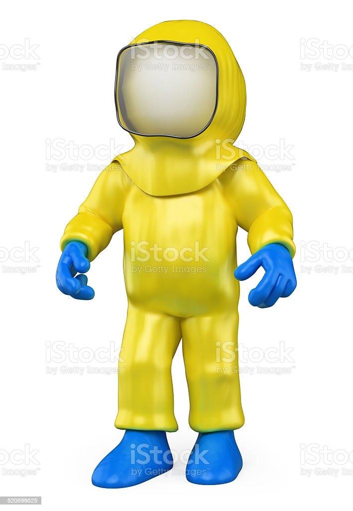 3D white people. Isolation suit. Biohazard stock photo