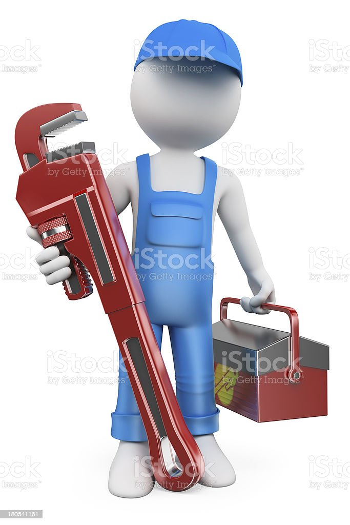 3D white people. Plumber royalty-free stock photo