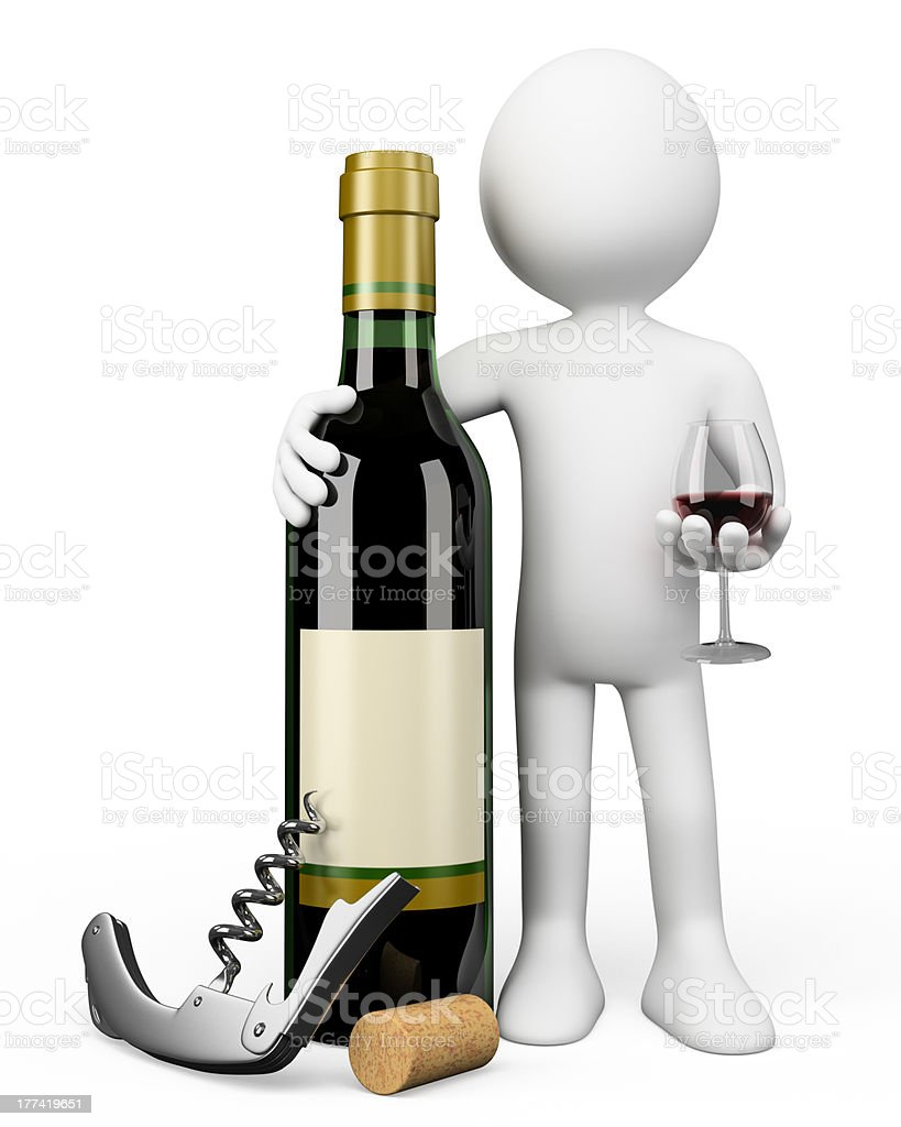 3D white people. Sommelier with a bottle of red wine stock photo