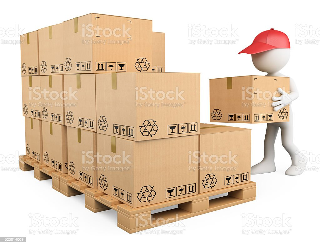 3D white people. Stock boy stacking boxes stock photo