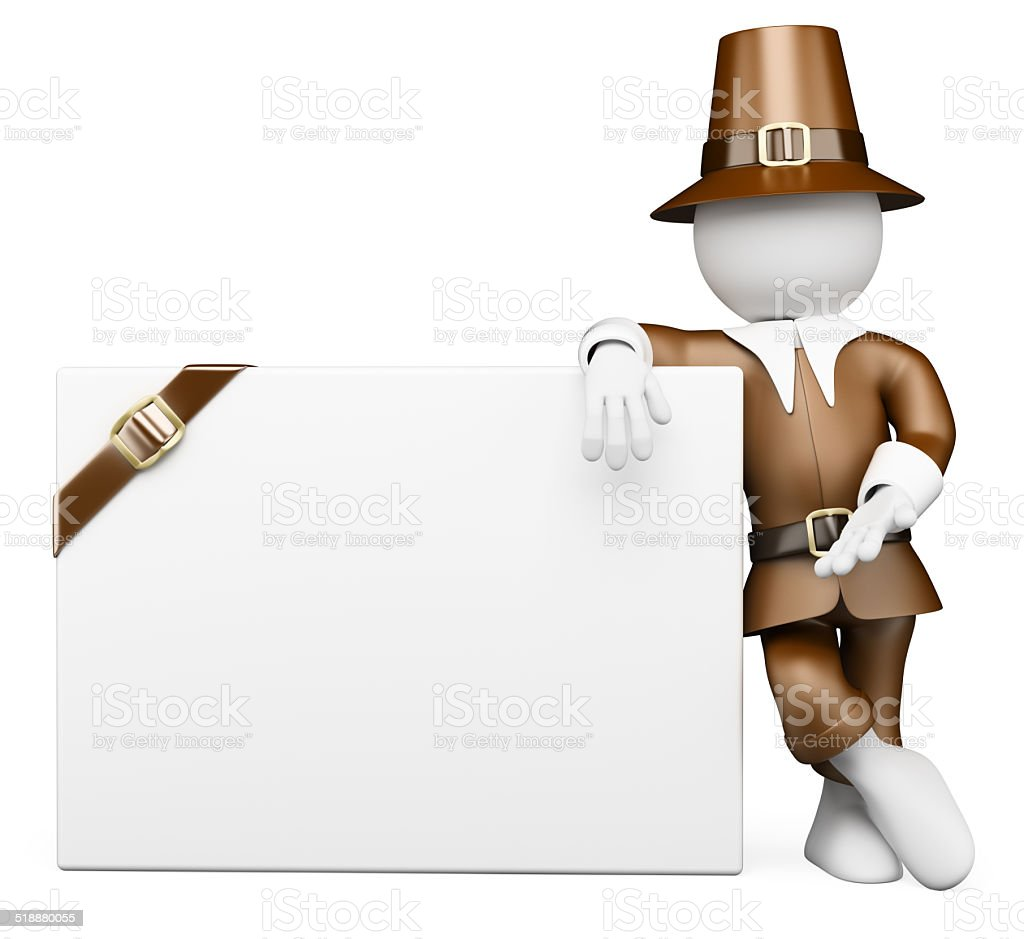 3D white people. Thanksgiving Day costume. Blank billboard stock photo