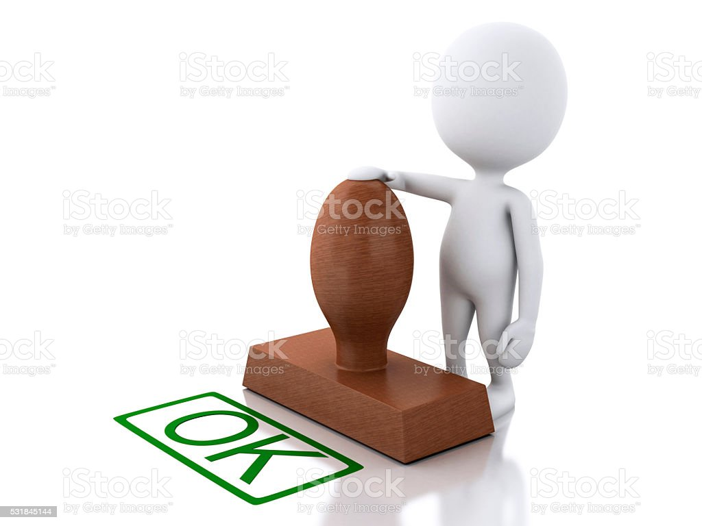 3D white people with seal OK stock photo