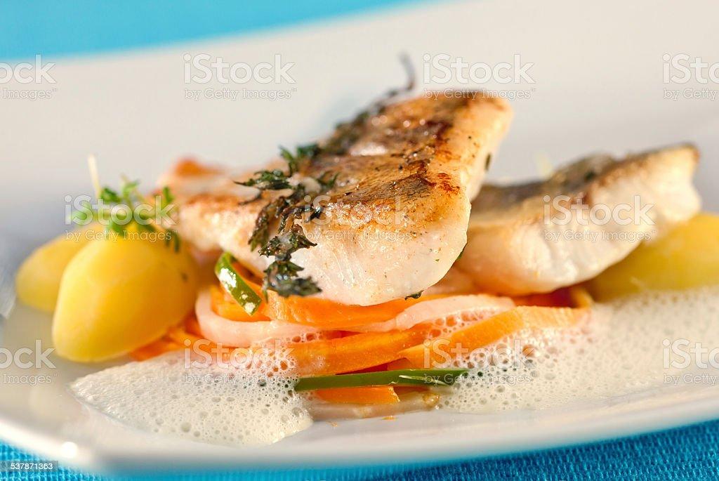 White perch, fish fillet. stock photo