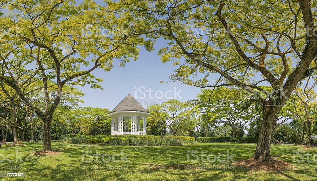 White pergola in Singapore Botanic Garden stock photo