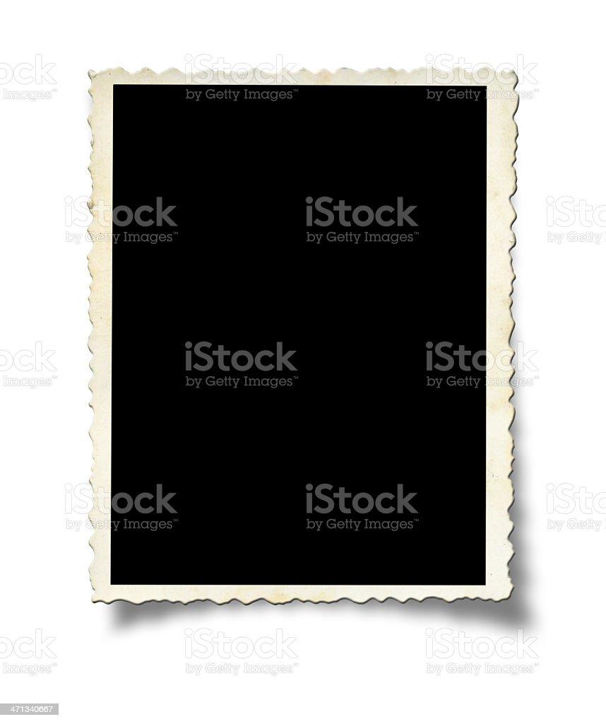 A white photo frame on a white wall stock photo