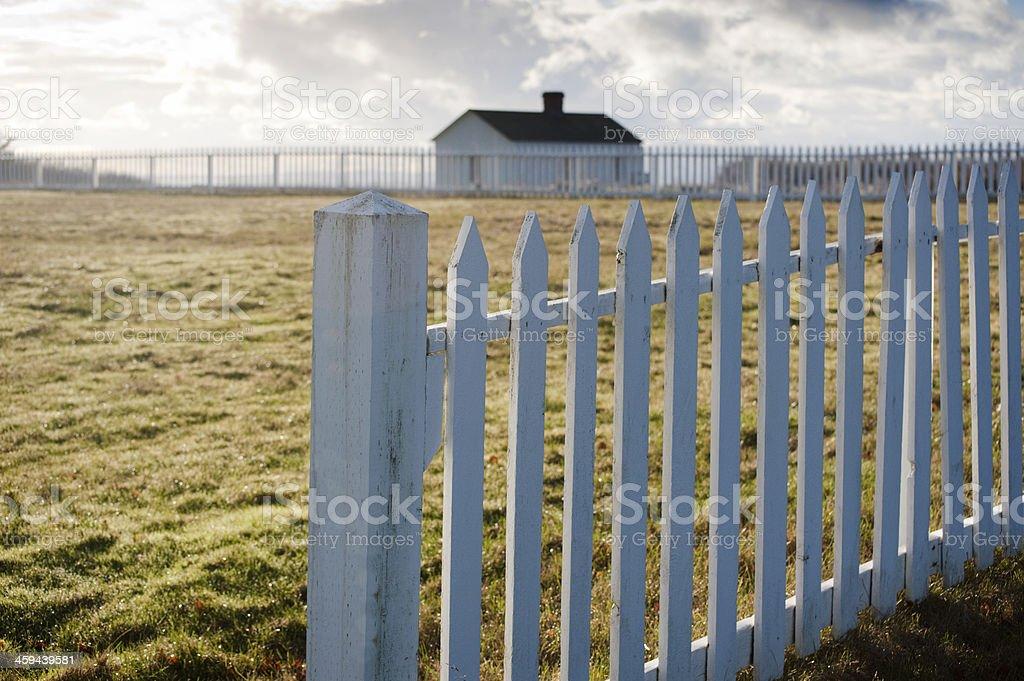 White Picket Fence. American Camp, San Juan Island, Washington. stock photo