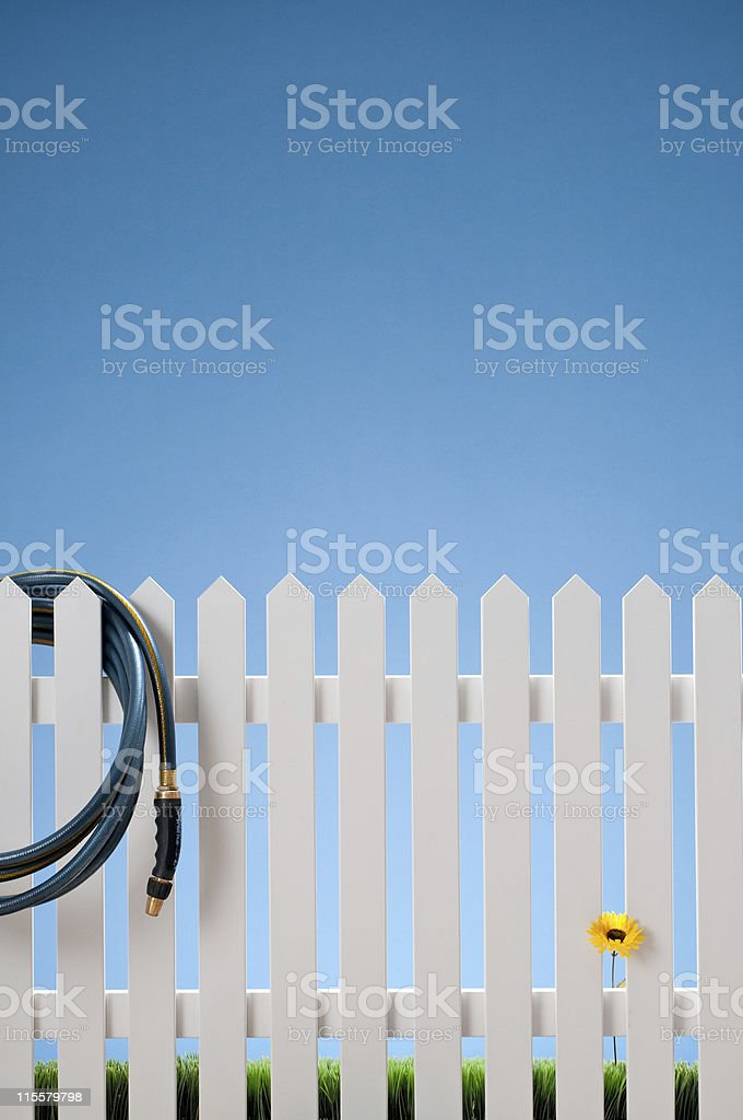 White Picket Fence & Hose With Single Flower royalty-free stock photo