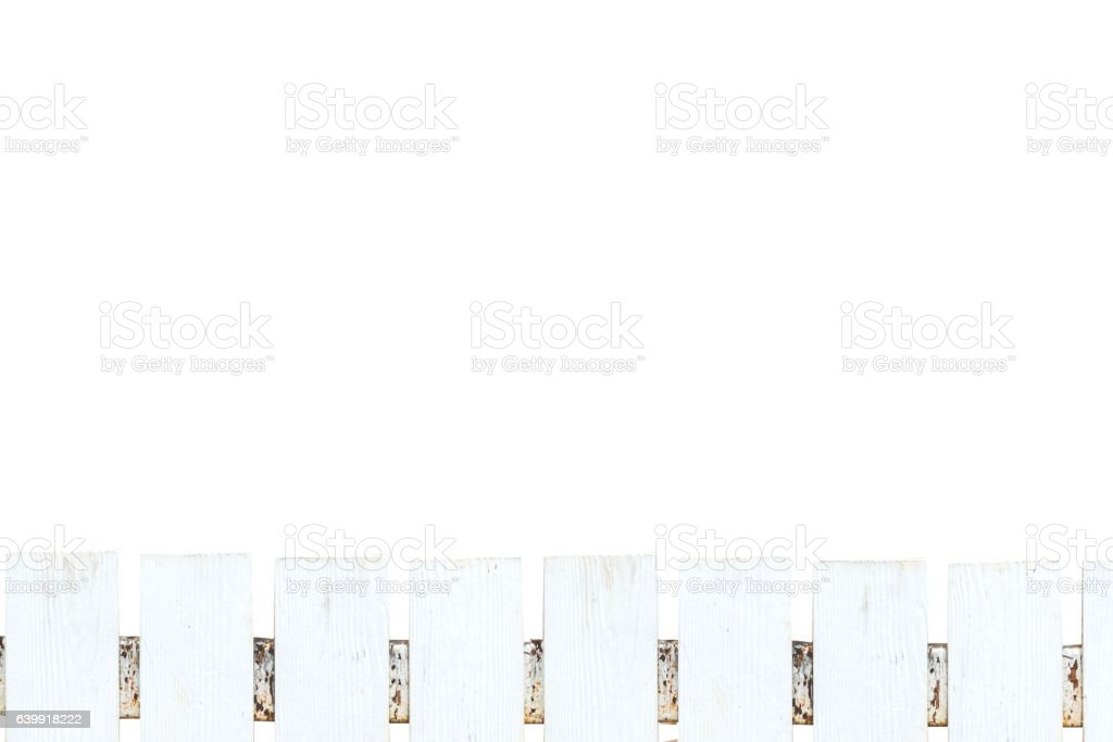 White picket fence on white background,Clipping Path. stock photo