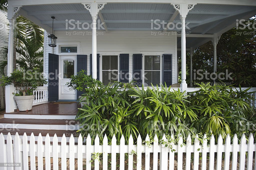 White Picket Fence Traditional Front Porch Southern Style stock photo