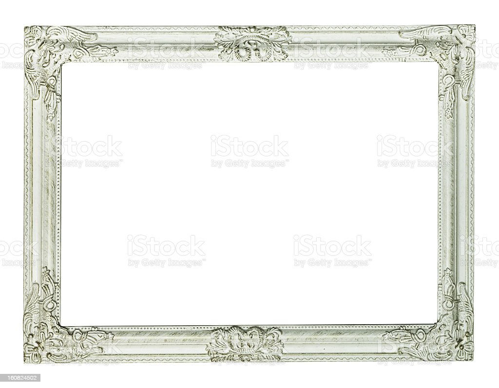 White picture frame, painted royalty-free stock photo