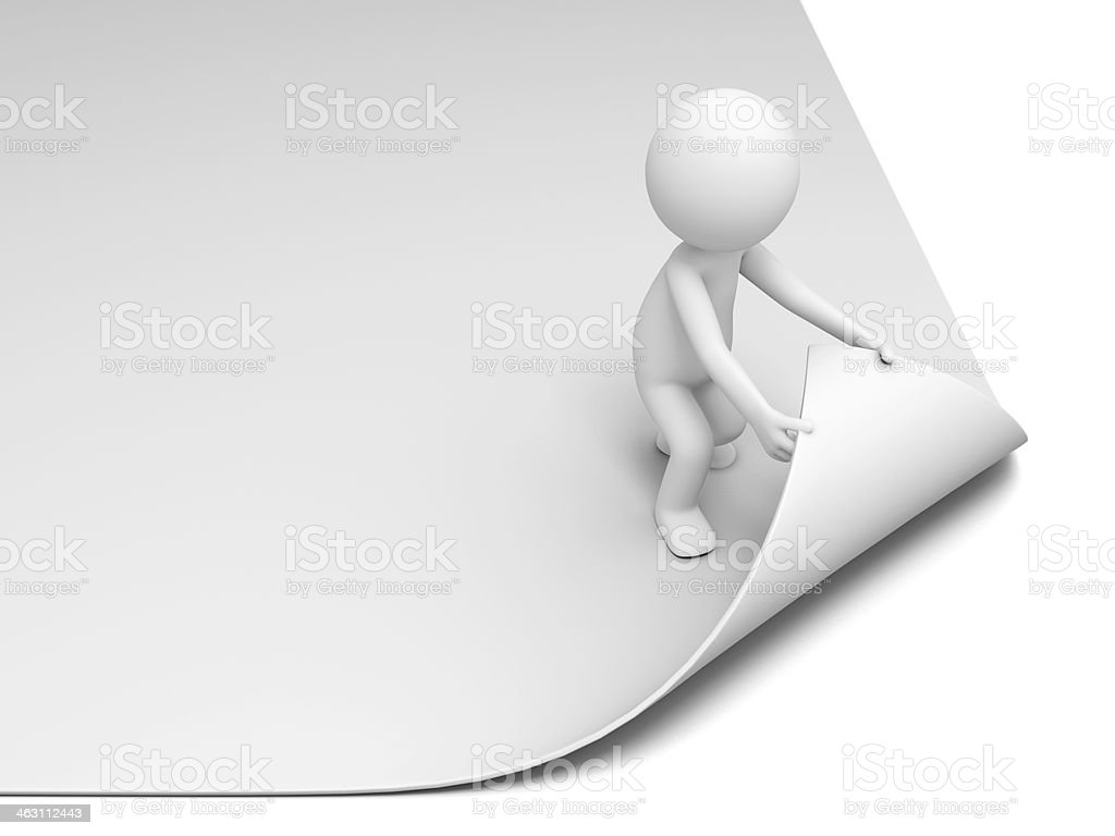 White piece of paper being pulled up by a stick figure stock photo