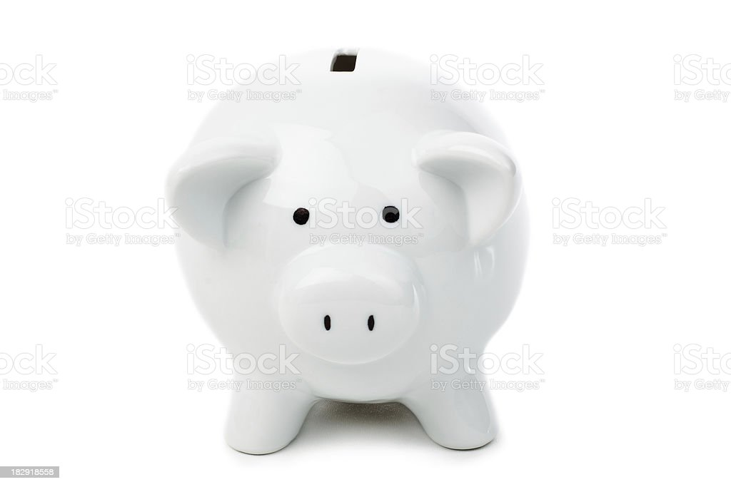 White Piggy Bank directly from front. royalty-free stock photo
