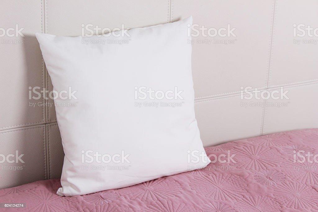 White pillow case Mockup. Interior photo stock photo