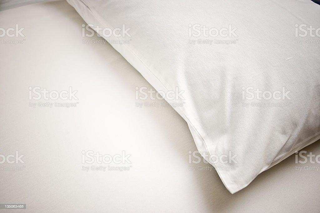 White Pillow Empty Bed stock photo