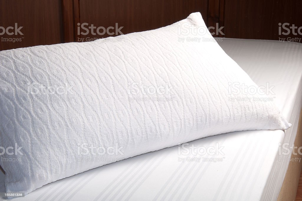 White Pillow Empty Bed stock photo