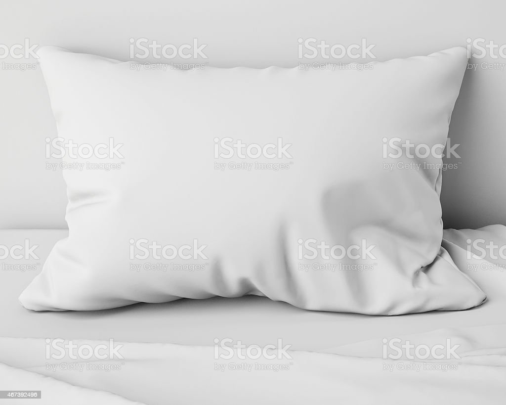 white pillow on the bed, background stock photo