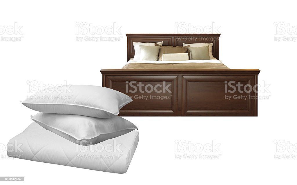 White pillows and bed royalty-free stock photo