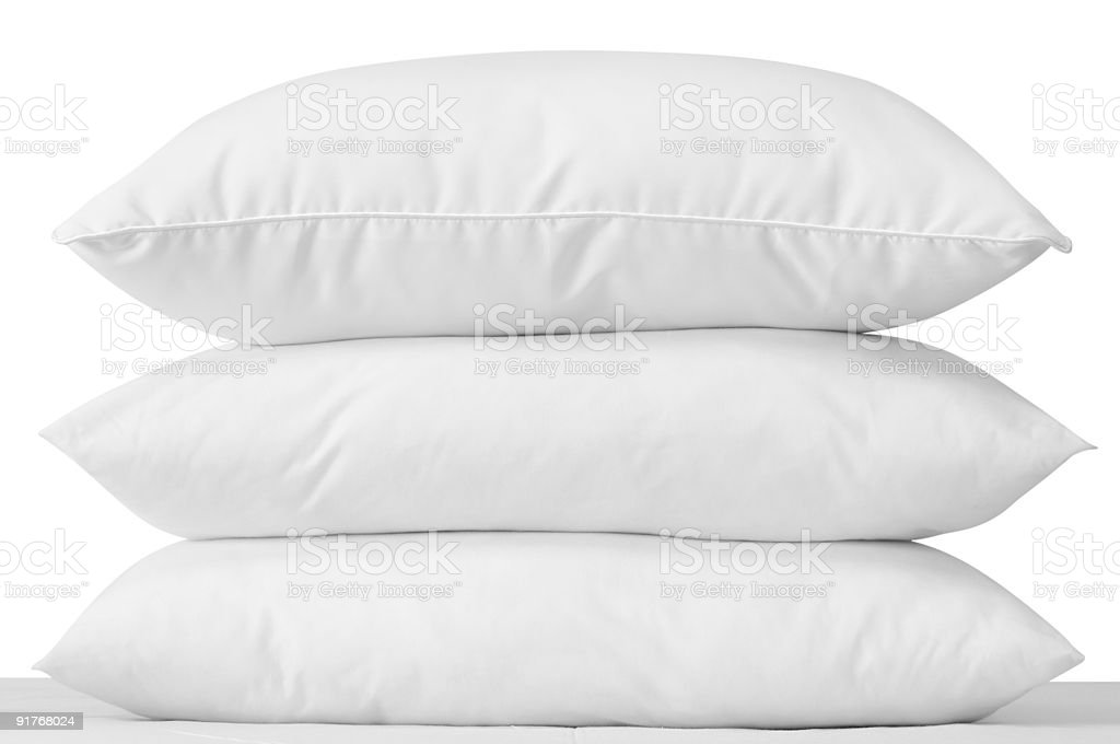 White pillows. Clipping path. stock photo