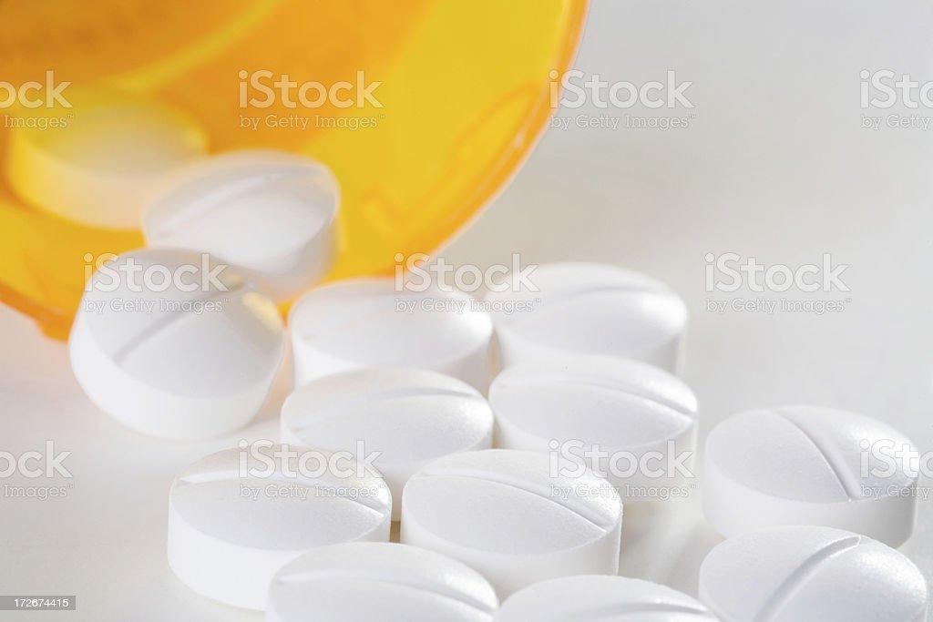 White Pills & Prescription Bottle royalty-free stock photo