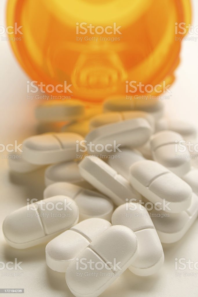 White Pills,Pain Medication stock photo