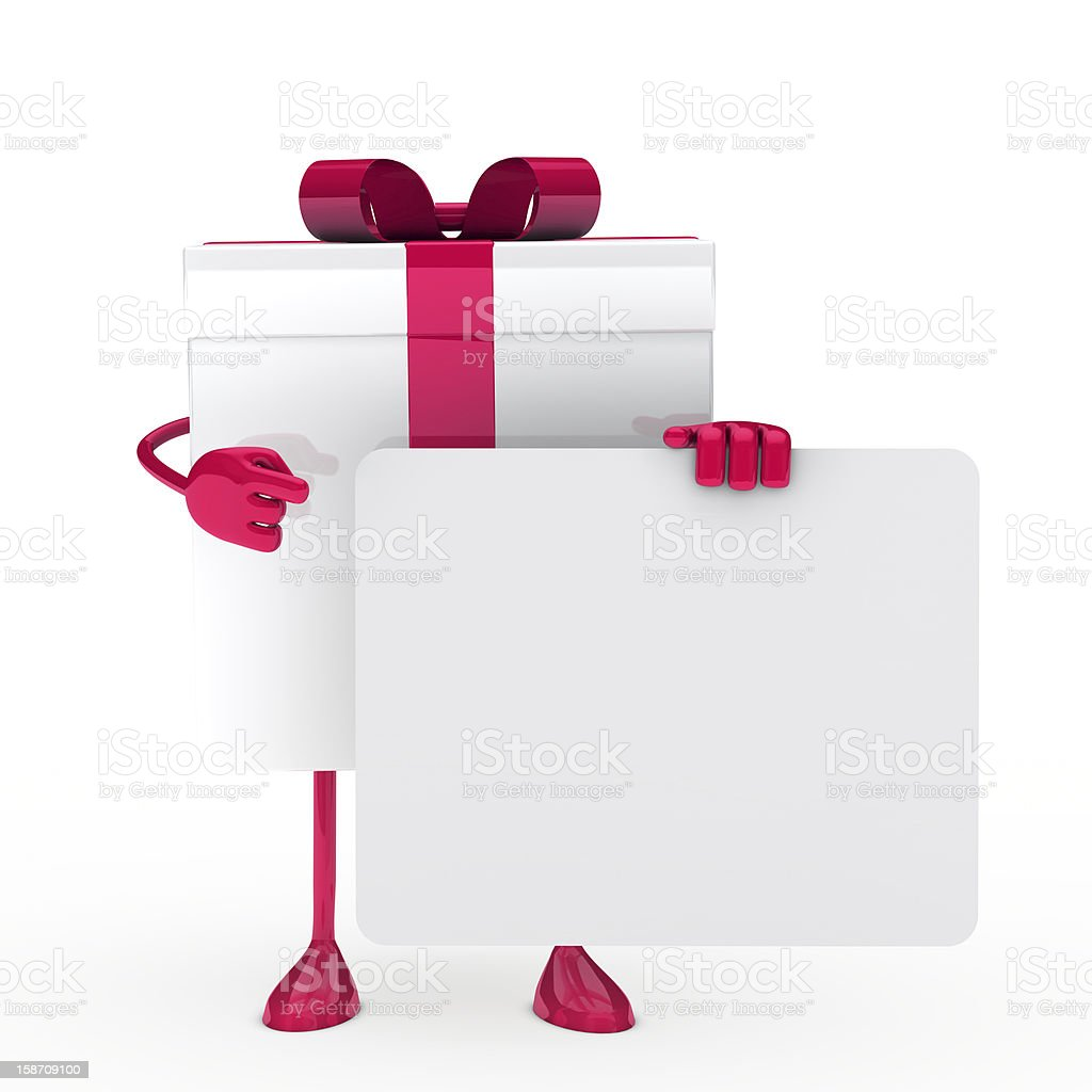 White pink gift with billboard royalty-free stock photo
