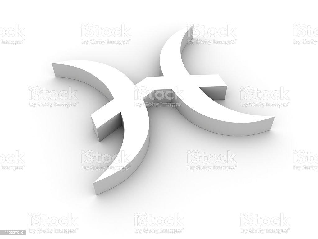 White pisces symbol stock photo