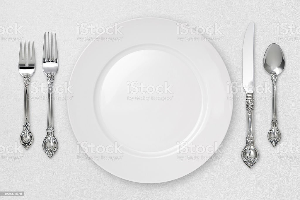 White Place Setting with a clipping path stock photo