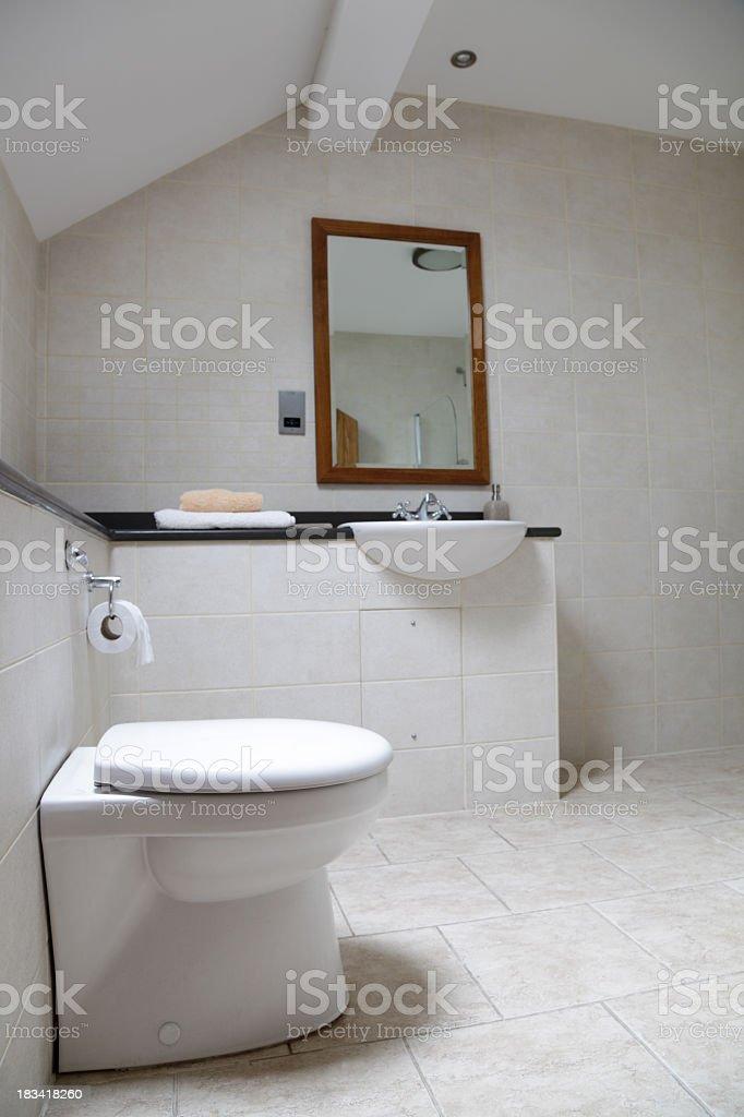 white plain bathroom lit by skylight royalty-free stock photo