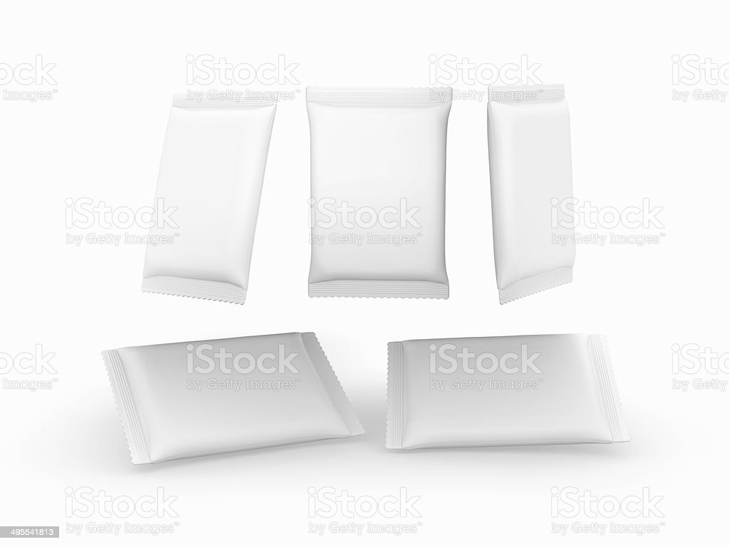 White plain flow wrap packet with clipping path royalty-free stock photo