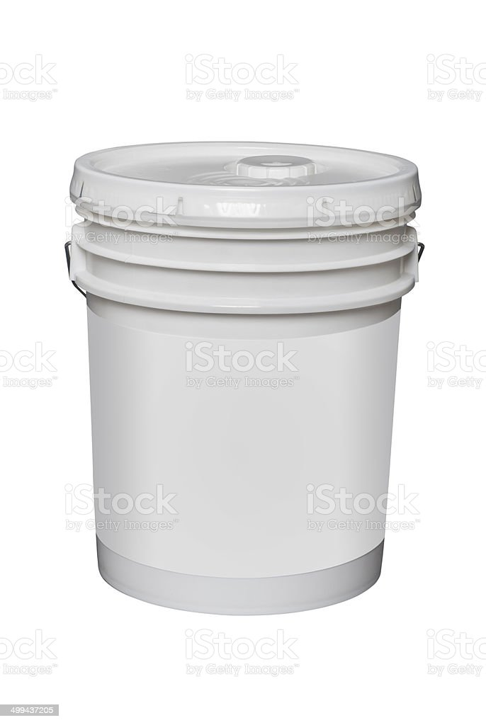 white plastic 5 gallon bucket, isolated stock photo