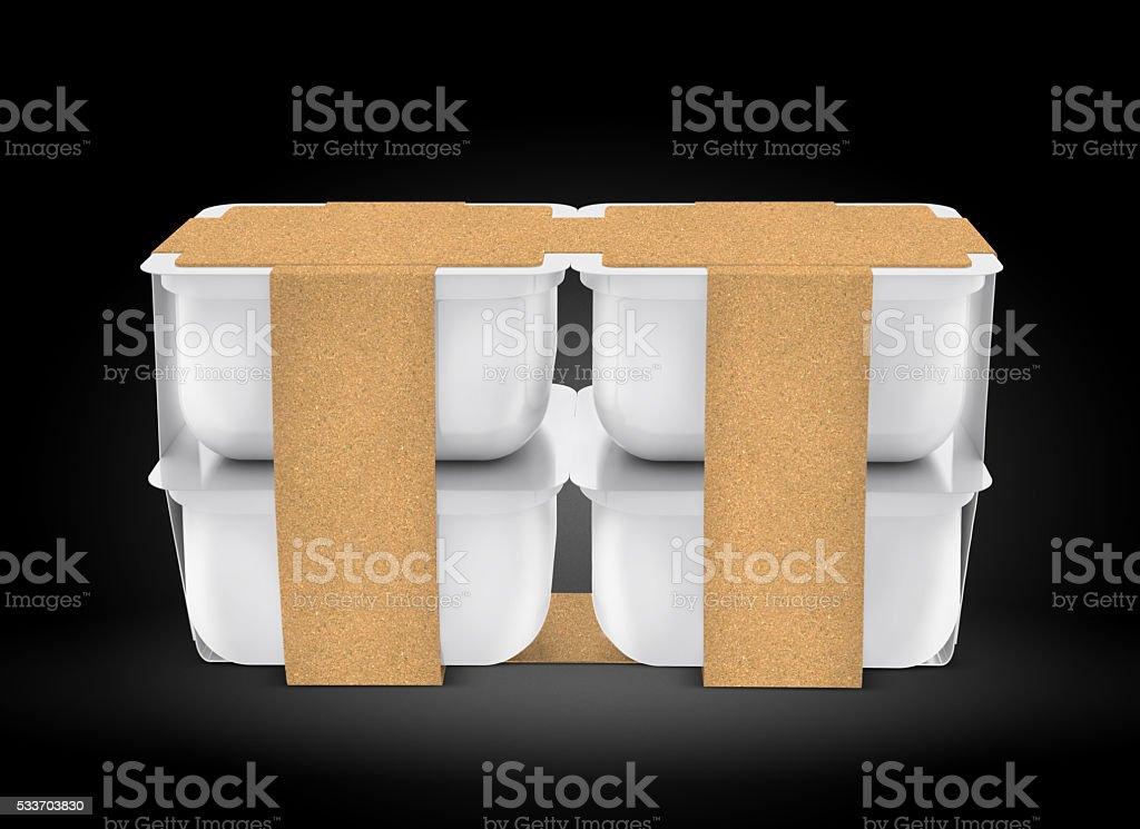 White plastic blank bank for food, oil, mayonnaise, margarine, cheese, stock photo