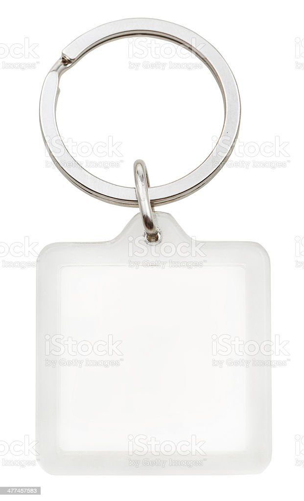 white plastic blank square keychain on ring stock photo