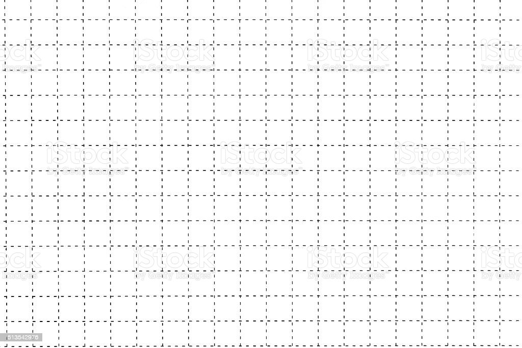 White Plastic Board With Dotted Line Like As Graph Paper stock photo