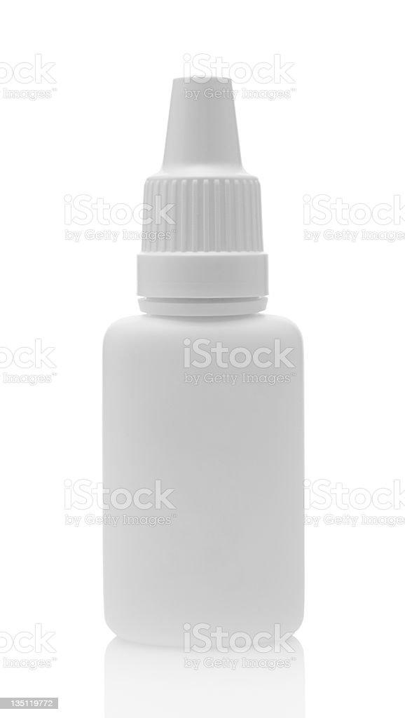 White plastic bottle for eye drops stock photo
