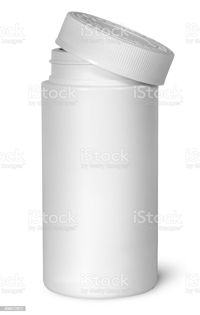 White plastic bottle for vitamins with lid removed stock photo