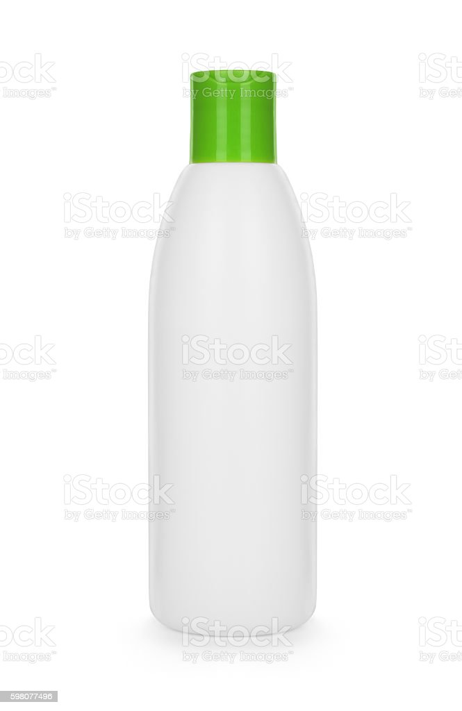 White plastic bottle isolated on white background stock photo