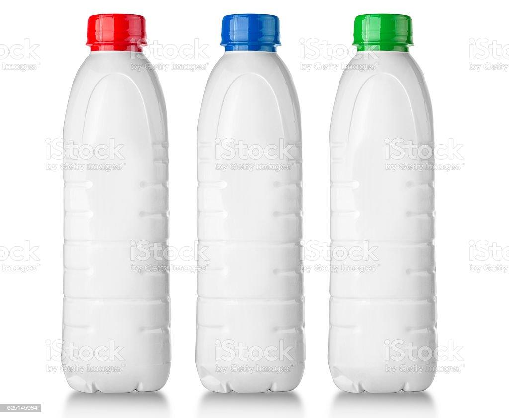 white plastic bottle on white stock photo
