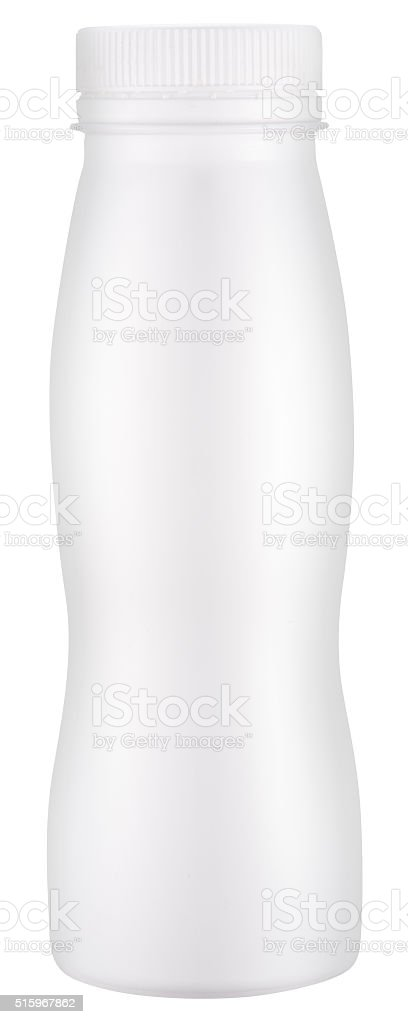 White plastic bottle with cap. stock photo