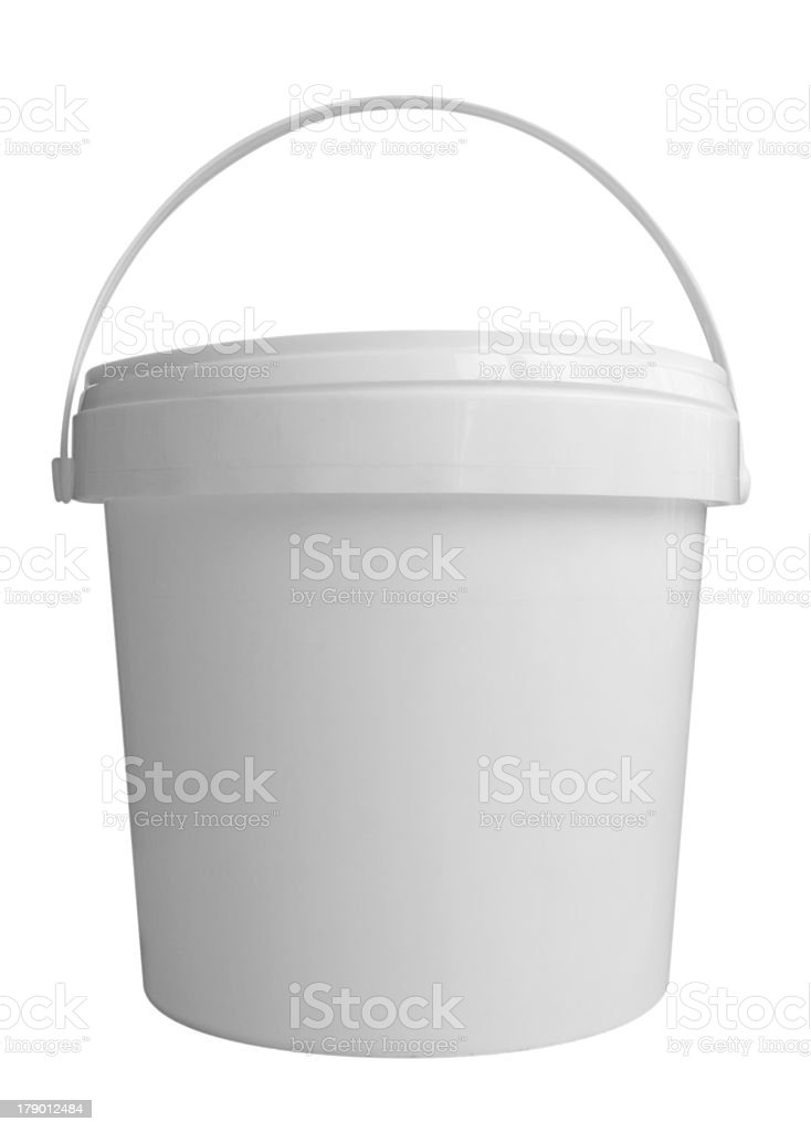 White plastic bucket with handle on white background stock photo