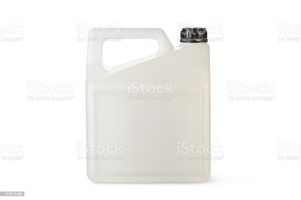 White plastic canister for household chemicals stock photo